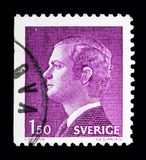 King Carl XVI Gustaf, serie, circa 1980. MOSCOW, RUSSIA - MAY 10, 2018: A stamp printed in Sweden shows King Carl XVI Gustaf, serie, circa 1980 Royalty Free Stock Photo