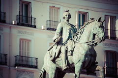 King Carlos III Equestrian Statue Famous Tio Pepe Sign Puerta de Stock Photos