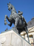 King Carol I on horse - statue in Bucharest Stock Photography