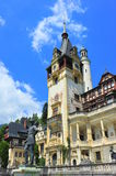 King Carol in military uniform statue in front of Peles castle Stock Images