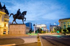King Carol the 1st statue in Bucharest, morning light royalty free stock photography