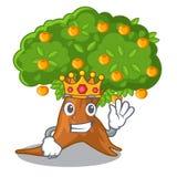 King cartoon orange tree in the yard. Vector illustration royalty free illustration