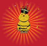 The king of cats. Abstract colored illustration with a yellow cat wearing a crown Royalty Free Stock Photo