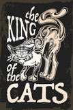 THe king of the cats retro card Royalty Free Stock Photo