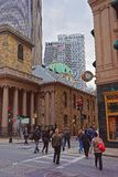 King Chapel in Tremont Street in downtown Boston. Boston, USA - April 28, 2015: King Chapel in Tremont Street in downtown Boston, MA, USA. People on the Royalty Free Stock Photos