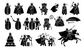 King Characters in Pictogram Set. Artworks depicts a medieval king in different poses, emotions, feelings, and actions. The emperor is wearing a crown or throne Stock Image