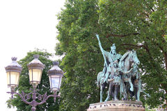 King Charlemagne in Paris near Notre Dame. Bronze statue of King Charlemagne in Paris near Notre Dame Stock Image