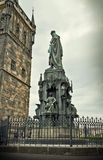 King Charles IV monument and tower in Prague old town Royalty Free Stock Photos