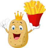 King chef potato cartoon holding a french fries Stock Photography