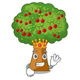 King cherry tree next to cartoon house. Vector illustration vector illustration