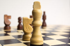 King on chess board. White king on chess board Stock Photo