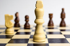 King on chess board. White king on chess board Royalty Free Stock Photos