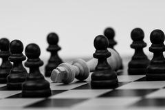 King in chess has fallen to several pawns Royalty Free Stock Photography
