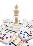 King chess piece with dominos Royalty Free Stock Photo