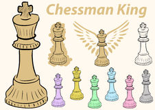 King chessman clipart. Clipart a set with multi-colored chessman king Royalty Free Stock Photography