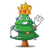 King Christmas tree character cartoon. Vector illustration stock illustration