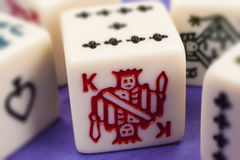 King. Close-up of King on Dice Facet Photo Royalty Free Stock Photo