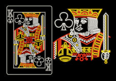 King of Clubs in neon. Isolated on black Royalty Free Stock Photography