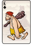 King of clubs playing card from the primitive man. Vector illustration of a playing card on the primitive man Stock Photos