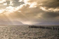 King Cormorant colony, Old Dock, Puerto Natales, Antarctic Patagonia, Chile. Sunset stock image
