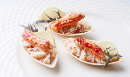 King crab cocktail. Elegant and delicious morsel of crab and ground for cocktail Royalty Free Stock Images
