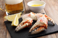 King crab fists with beer Royalty Free Stock Photography