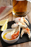 King crab fists with beer Stock Photography