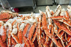 King crab legs. Closeup of a pile of Alaskan king crab legs at a market royalty free stock photography