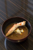 King crab miso soup. On wooden table Royalty Free Stock Image