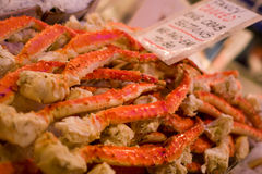 King Crab Sections and Legs. On Ice in a public fish market Royalty Free Stock Photo
