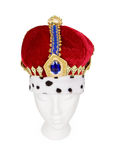 King Crown. A velvet King crown with jewels. Isolated on white royalty free stock photos