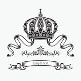 King crown. Graphic black and white crown. Heraldic theme. Vector illustration eps.10 Royalty Free Stock Photography