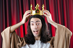 King with crown on the background Royalty Free Stock Image