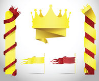 King crown banners in paper folded style. Stock Photos
