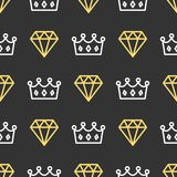 King crown and brilliant on seamless pattern background. Royal crown and diamond outline on black background. King crown and brilliant on seamless pattern royalty free illustration