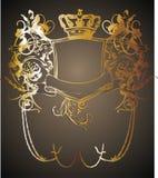 King crown frame 01. King and the golden crown on black background floral frame design graph royalty free illustration