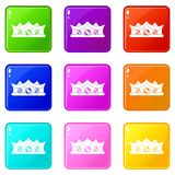 King crown icons 9 set. King crown icons of 9 color set isolated vector illustration Stock Photography