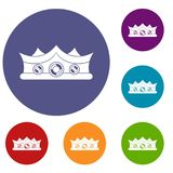 King crown icons set. In flat circle red, blue and green color for web Royalty Free Stock Photos