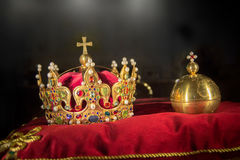King crown jewels. Golden king crown jewels closeup royalty free stock photo