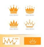 King crown logo icon set Royalty Free Stock Photo