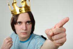 King with crown shows his finger Royalty Free Stock Photos