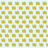 King crowns pattern background abstract textures on blue backgro Royalty Free Stock Images