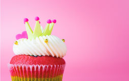 King Cupcake crown heart on pink background Royalty Free Stock Image