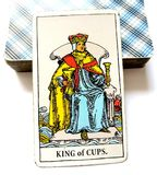 King of Cups Tarot Card. King of Cups is Caring , Friendly, Loving, Sensitive, Kind, Sympathetic and Supportive stock image
