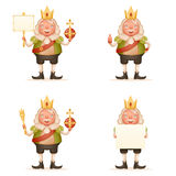 King cute cheerful ruler blank paper thumb up crown on head power and scepter in hands cartoon character 3d realistic. King cute cheerful ruler blank paper thumb Royalty Free Stock Photo