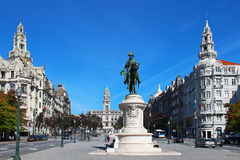 King D.Pedro IV monument on Liberdade square in Porto, Portugal Royalty Free Stock Photos