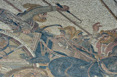 King Darius. Of Persia and his war chariot. An ancient roman mosaic showing the battle of Issus against Alexander the Great Royalty Free Stock Image