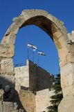 King David Citadel archway, Old City Jerusalem. Flags at the King David Citadel Royalty Free Stock Images
