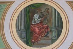 King David. Fresco painting in church royalty free stock photo