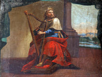 King David. Fresco painting in church stock photography